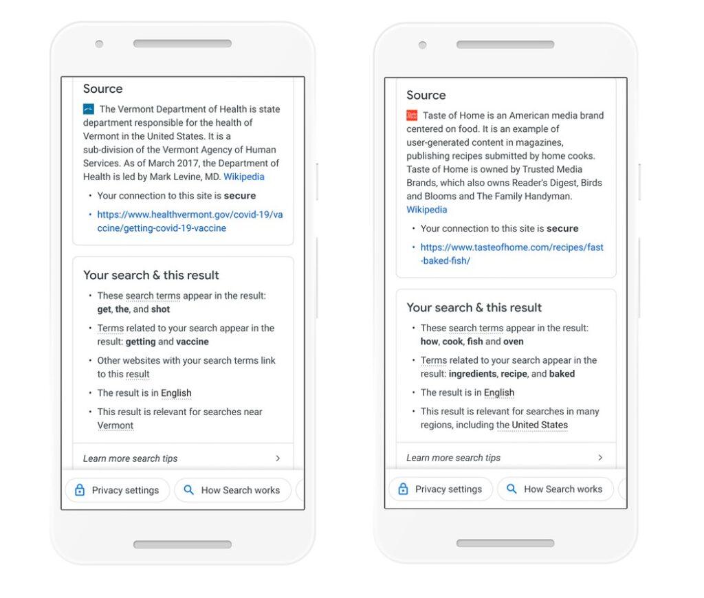 Panel informativo en los resultados de búsqueda de Google